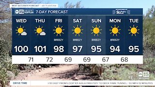 Triple digits possible Wednesday afternoon