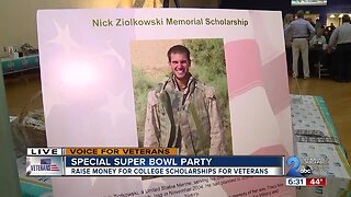 Special Super Bowl party raises money for college scholarships for veterans