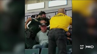 Arrest caught on camera of man refusing to wear a mask at Hertz Arena