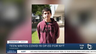 Chula Vista teen details pandemic struggles in NYT op-ed