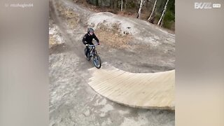 Young BMX rider fails to break his fall