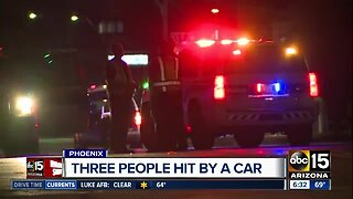 Three people hit by car in Phoenix Thursday morning