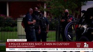 3 police officers shot, 2 men in custody