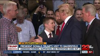 President Donald Trump addresses farmers, while supporters and protestors share their views