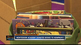 summer campers donate books, supplies