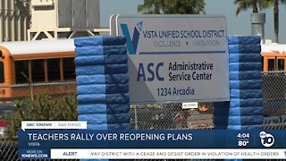Vista teachers rally over reopening plans