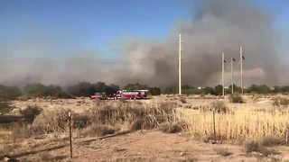 RAW VIDEO:Brush fire burning in Santa Cruz River