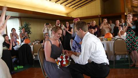Bridesmaid Gets Surprise Proposal At Friend's Wedding