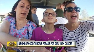 Neighborhood throws parade for girl with cancer