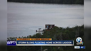 Storm blows floating home across lagoon