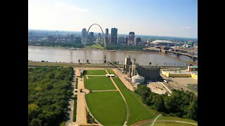 A rotor good time flying over St. Louis in a helicopter