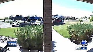 Semi caught on camera destroying driveway, driving off
