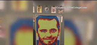 Engineering student, artist makes Las Vegas Raiders' Derek Carr portrait from Rubik's Cubes