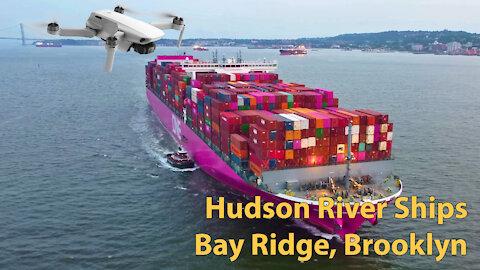 Cargo ships on Hudson river