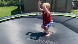 Little boy shows off epic gymnastic moves on the trampoline