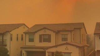 Smoke from Silverado wildfire creates red sky in Irvine, California