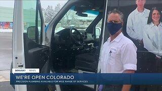 "Precision Plumbing says, ""We're Open, Colorado"""