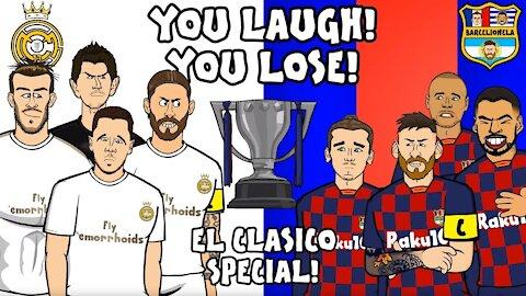 Comic cartoon of Barcelona losing to Real Madrid