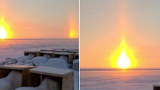 """Arctic sunset creates stunning """"sun dog"""" illusion"""