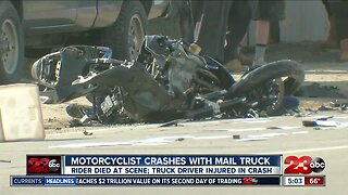 Motorcyclist killed after colliding with mail struck