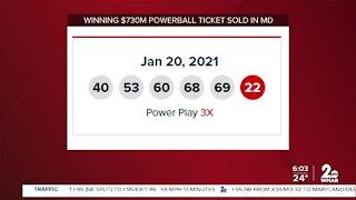 Winning $730M Powerball ticket sold in MD
