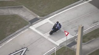 Motorcyclist caught riding on shoulder