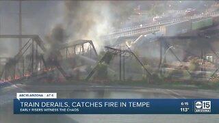Train derails, catches fire in Tempe