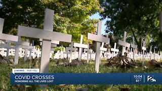 COVID crosses honoring all the lives lost