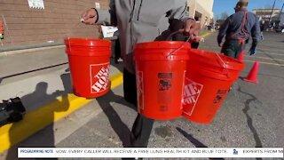 Home Depot donates 60 buckets of winter supplies to veterans