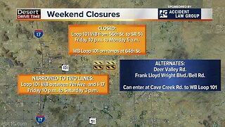 Travel advisory: Valley freeways restricted this weekend