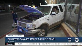 Businesses damaged after hit-and-run crash