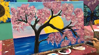 Fast painting of cherry blossoms