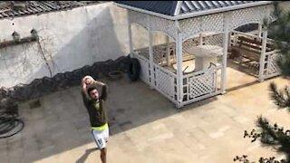 Amazing basketball trick shot