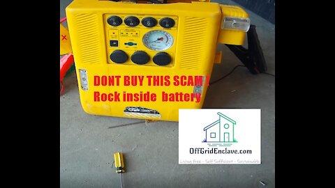 Scam Alert ! Cheap Car Emergency Jump Start Kit has Rock inside Battery ! Don't buy this !!