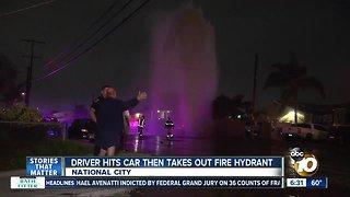 Driver hits car, shears fire hydrant