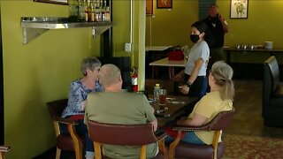 Dine-in restaurant customers adapt to new normal