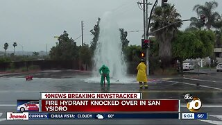 Fire hydrant knocked over in San Ysidro, leads to geyser