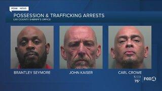 Three men arrested for drug trafficking in Fort Myers
