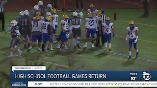 High School Football resumes in San Diego County