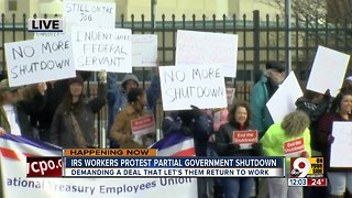 IRS workers protest partial government shutdown