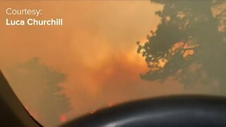 Video shows people driving through flames in order to help friends escape Calwood Fire