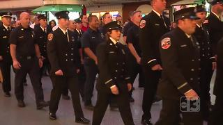 Firefighters remember 9/11 in march down Fremont Street