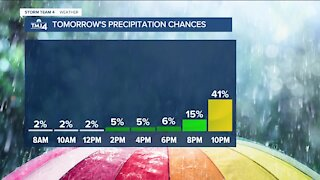 Thursday is dry and warm until evening showers roll in