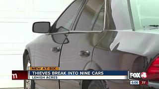 Thieves break into nine cars