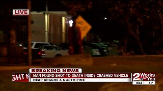 man found shot to death inside crashed vehicle