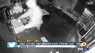 Video catches Spring Valley thief breaking glass, stealing cash