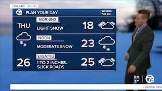 Metro Detroit Forecast: Another 1 to 2 inches of snow today