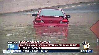 North Park water main break floods streets, cars