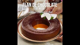 Homemade Table Chocolate Flan