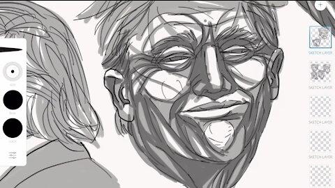 Trump Study illustrated by Joshua Lindsay 2016